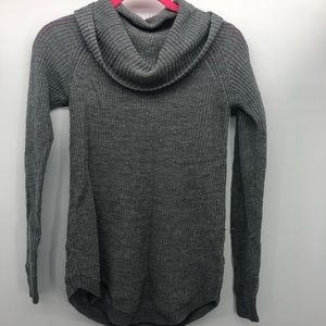 BCX Turtleneck Sweater Gray Metallic Cowl Neck